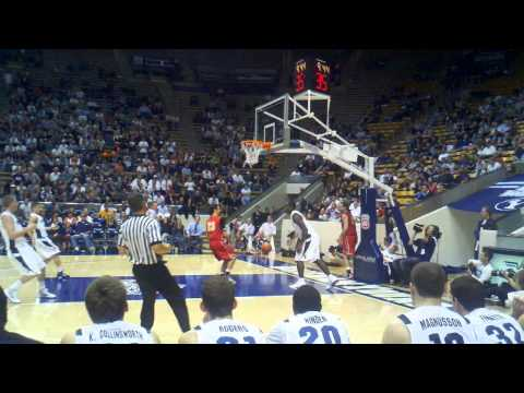 BYU's Charles Abouo fast break layup