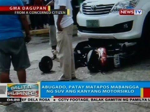 BP: Abugado, patay matapos mabangga ng SUV ang kanyang motorsiklo