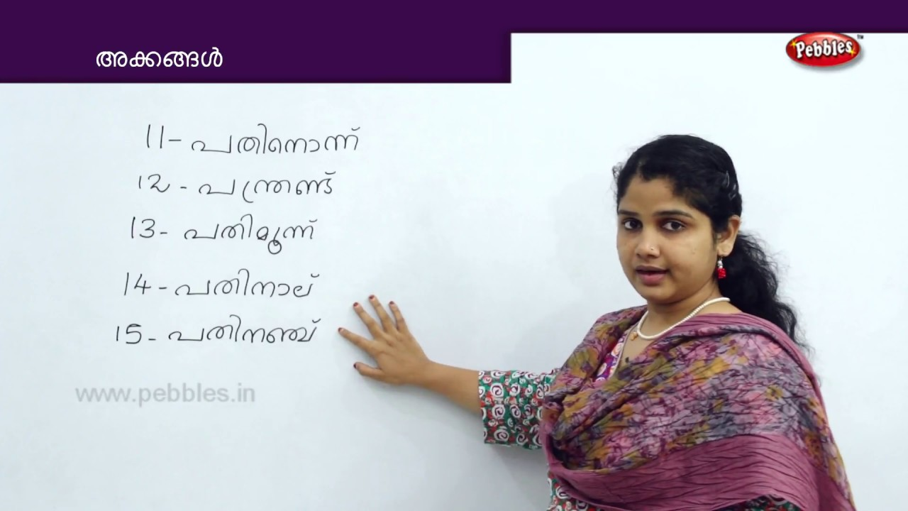 Learn Numbers in words in Malayalam
