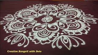 Creative Rangoli Design with Dots | Easy Kolam Design With Dots | Muggulu Rangoli Design