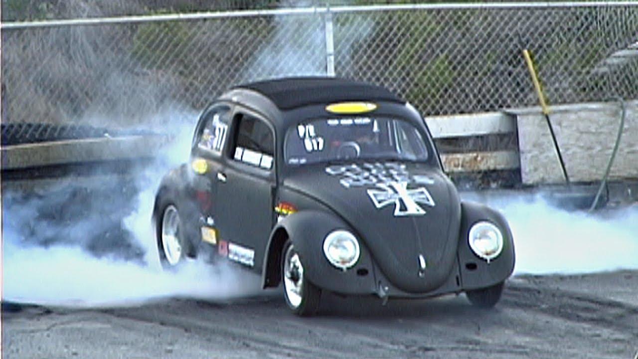 VW bug beats Ford Mustang GT, street cars drag racing - YouTube