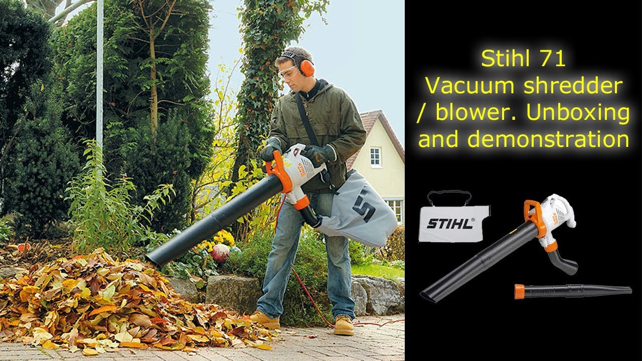 sthil she 71 electric garden blower - vacuum shredder - youtube