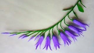 How to make crepe paper flowers #Bellflowers | Diy crepe paper flowers | Easy Papercraft