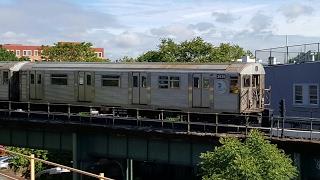 NYC Subway: 1964 Budd Co. R32s entering East New York Subway Yard