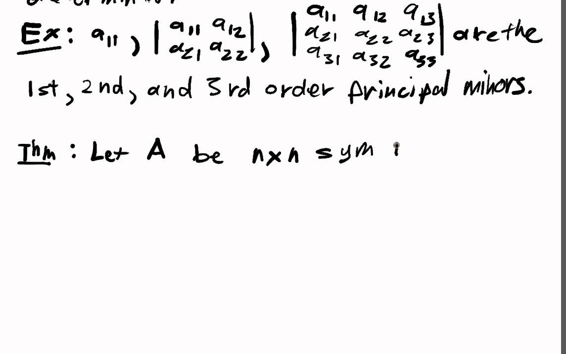 Optimization of Quadratic Forms Lecture Part 3: Prinicpal Minors ...