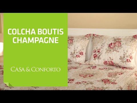 Colcha Queen Boutis Champagne com 2 Porta-Travesseiros Casa & Conforto | Shoptime