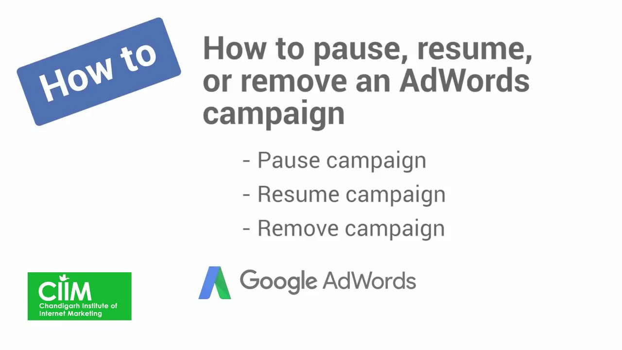 How to pause, resume, or remove an AdWords campaign - YouTube