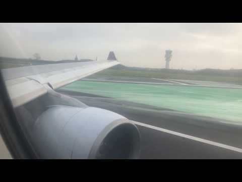 (INCREDIBLE ENGINE SOUND) Airbus A330-200 Wet & Windy take-off from Zaventem en-route Monrovia