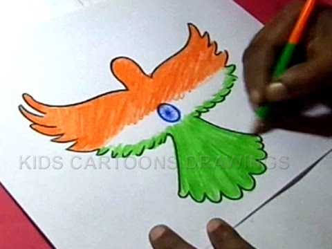 How to draw independence day parrot design step by step kids cartoon drawings
