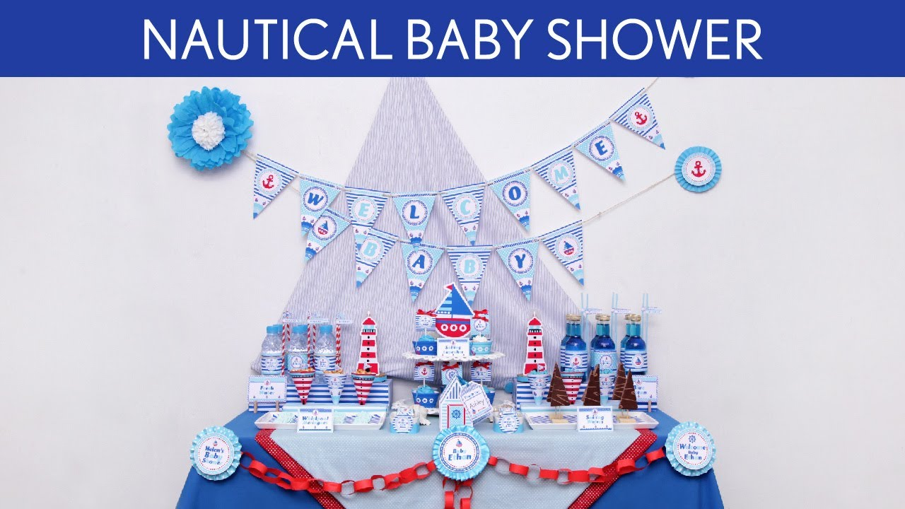 Nautical Baby Shower Party Ideas Nautical S5 YouTube