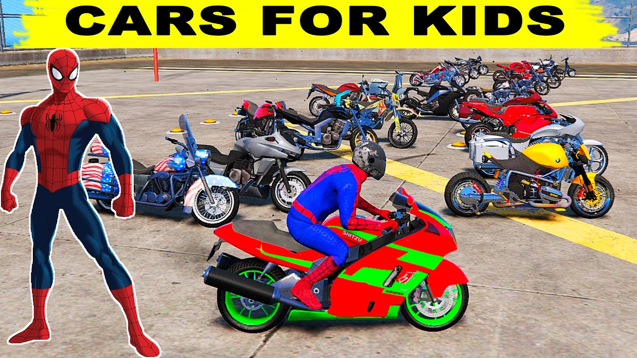 Spiderman moto coches divertidos de dibujos animados para ni os y ni os con canciones de youtube - Spider man moto ...