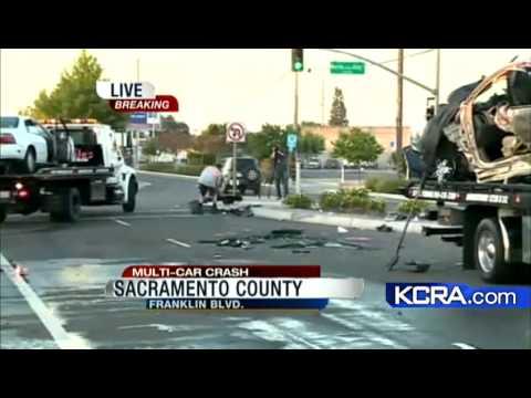 car crash sacramento  4 injured in multi-car crash in Sacramento - YouTube