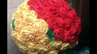 Своими руками - Роза из гофрированной бумаги / Как сделать розы своими руками