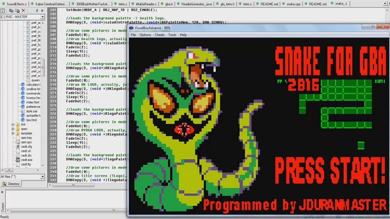 Writing a SNAKE Game Engine for Game Boy Advance using C Programming  Language (DevKitAdv Dev  Kit)