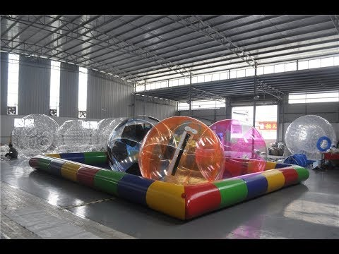 Inflatable Swimming Pool With Waterballs Awesome Summer Water Games.