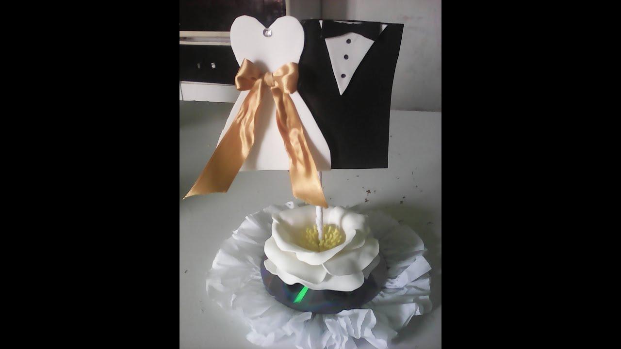Centro de mesa,lembrancinha,decoraç u00e3o de casamento em eva,reciclagem,#artesanato YouTube # Decoração De Mesa De Casamento Barato