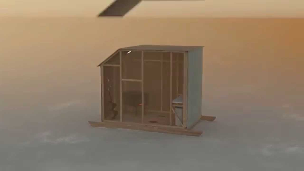 Building a Bob House on ice tree house, healing house, ice fish house, ice shield house,