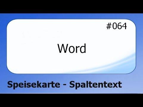 Word #064 Speisekarte - Spaltentext [deutsch]