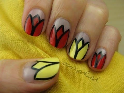 Tulip Flower Nail Art Youtube