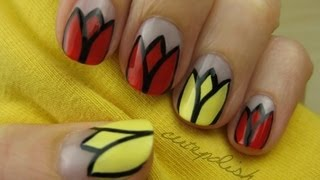 Tulip Flower Nail Art