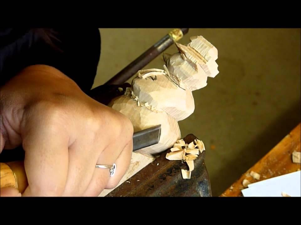 Impressionnant Video De Sculpture Sur Bois #7: Sculpture Sur Bois, Tutoriel Bonhomme De Neige Par Fabienne Hôt. - YouTube