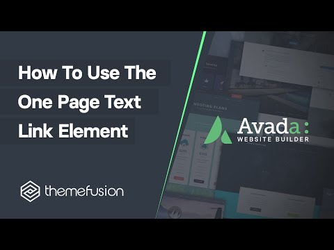 How To Use The One Page Text Link Element Video