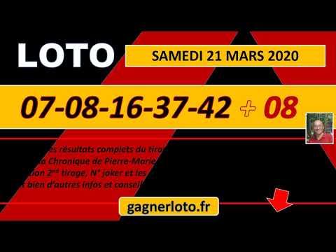 LOTO TIRAGE GAGNANT DU SAMEDI 21 MARS 2020