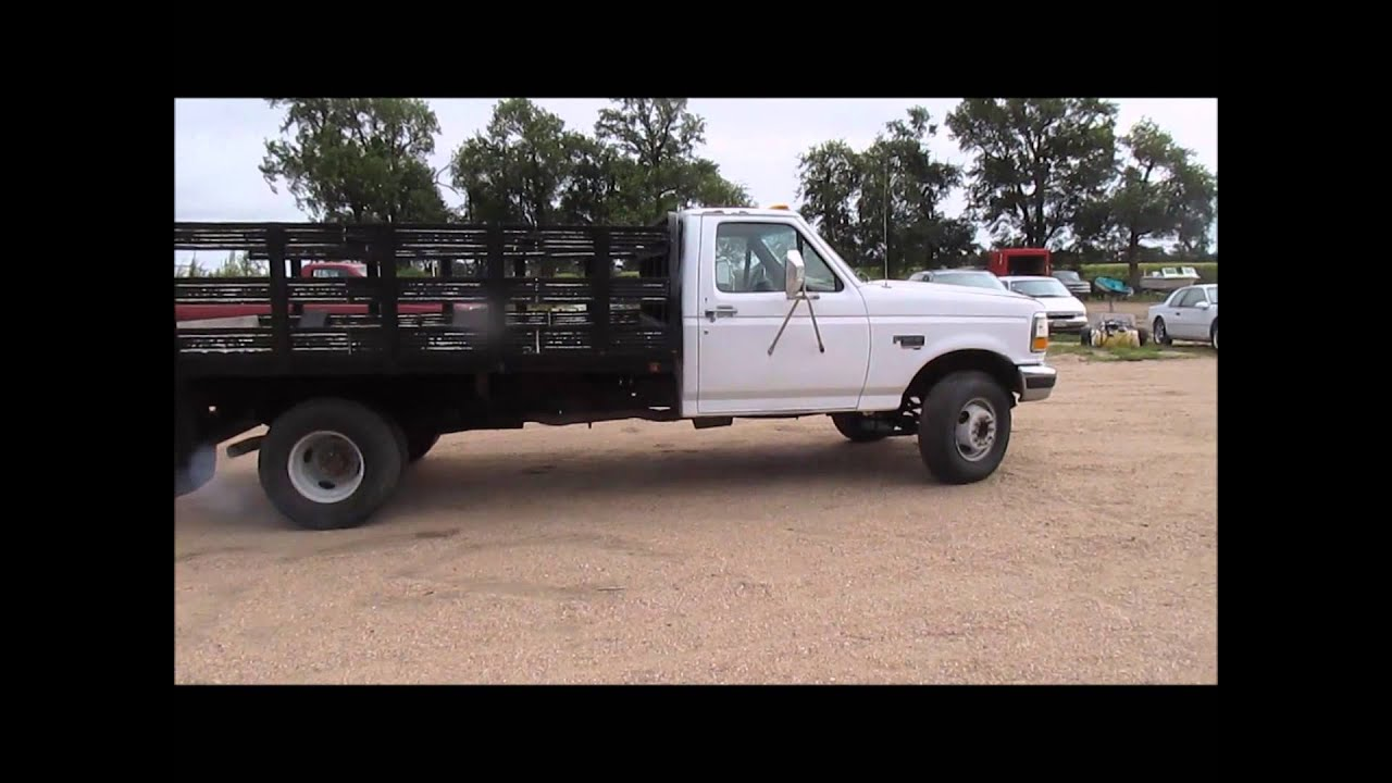 1995 ford f450 super duty xlt flatbed truck for sale sold at auction october 1 2014 youtube. Black Bedroom Furniture Sets. Home Design Ideas