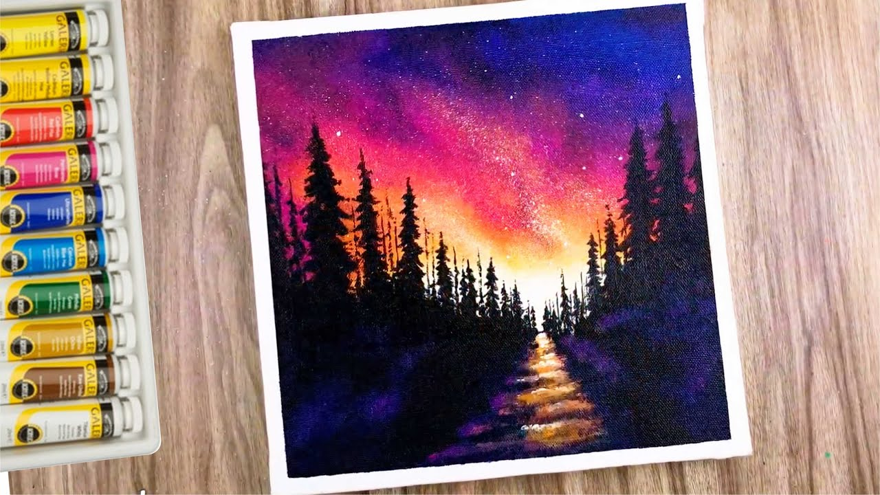 Cosmic sky painting   milky way Galaxy painting   snowy