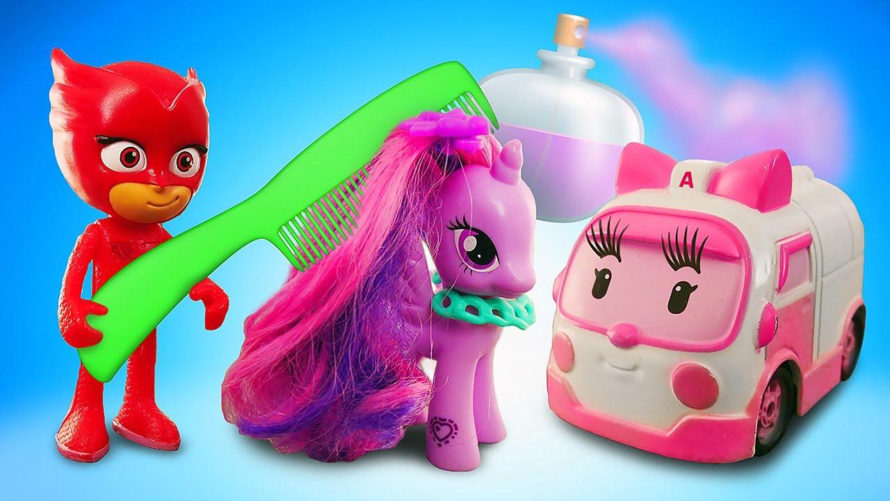 Видео про игрушки. Игры в Салон красоты Алетт из м/ф Герои в масках для Пони Пинки Пай, Сэли и Эмбер