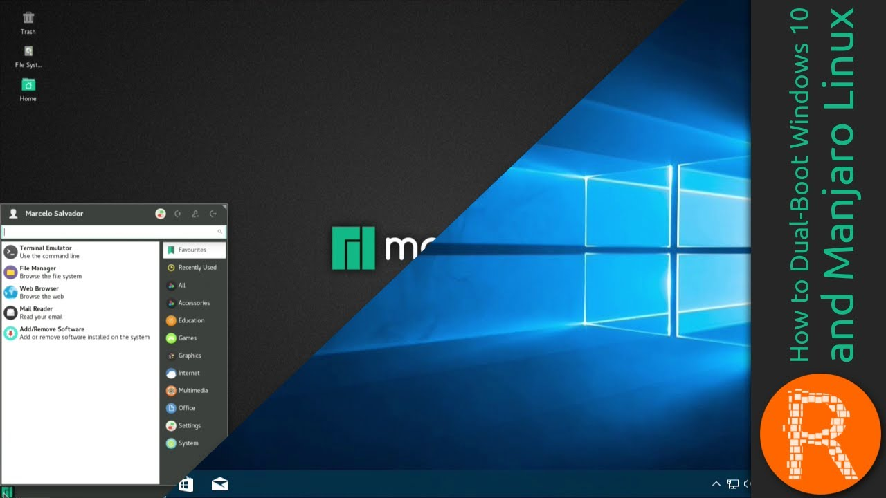 How To Dual Boot Windows 10 And Manjaro Linux Youtube