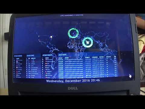 vídeo incrível do monitoramento global da atividade de hackers e crackers  em tempo real