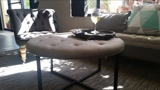 The Small Reno Project FURNITURE: DIY Ottoman using a Kmart table (upholstry)