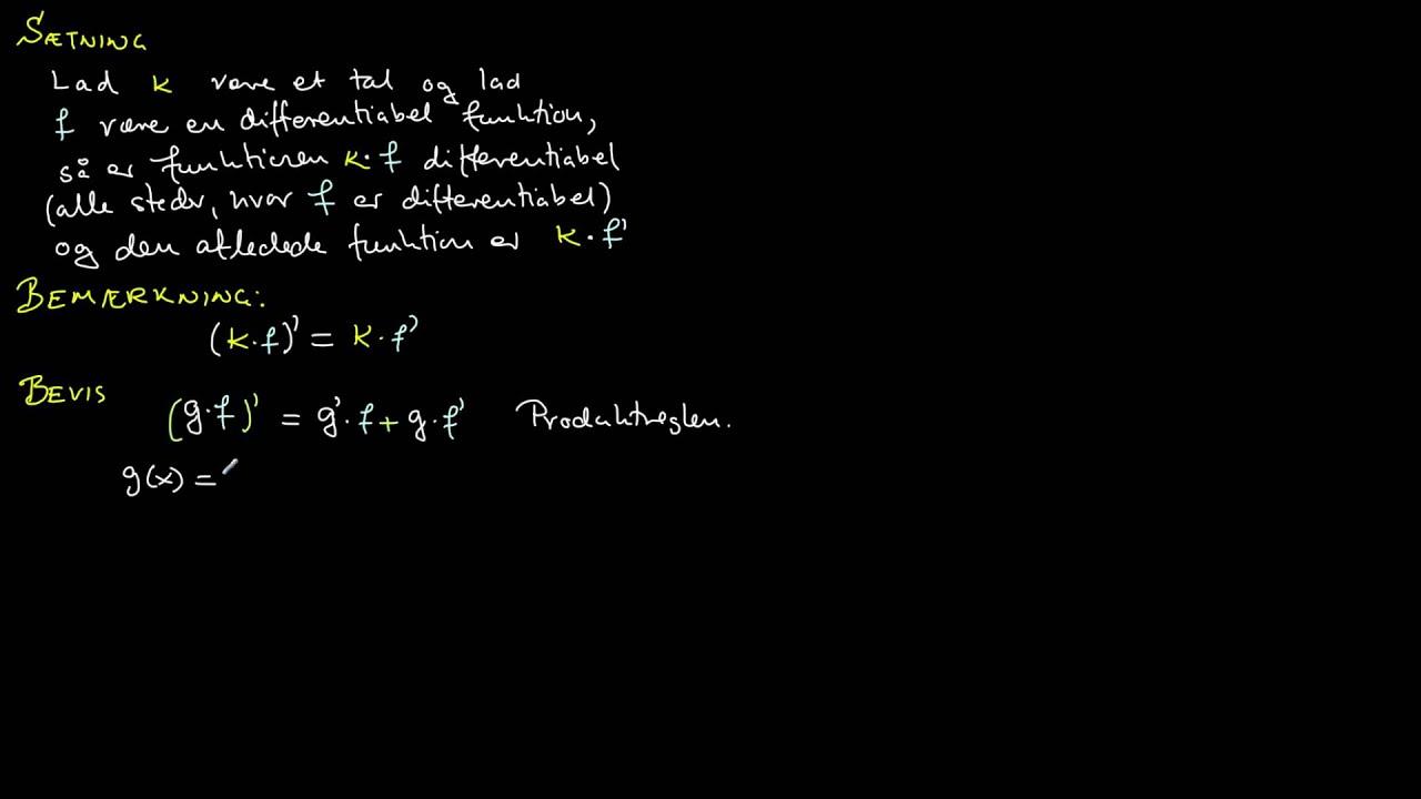 Alternativt bevis: Differentialkvotient af konstant gange funktion
