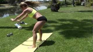 Fitness bikini  Model does Burpees