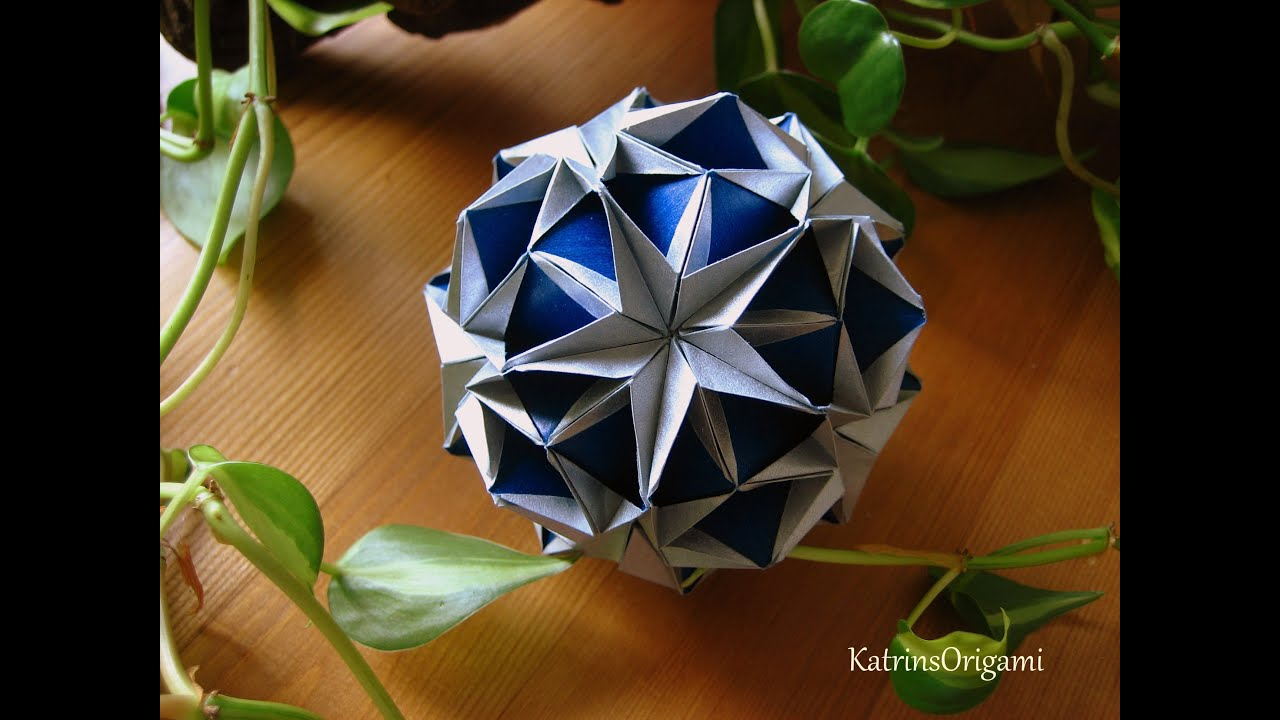 origami flower diagram in english what is an energy transfer snow star kusudama youtube
