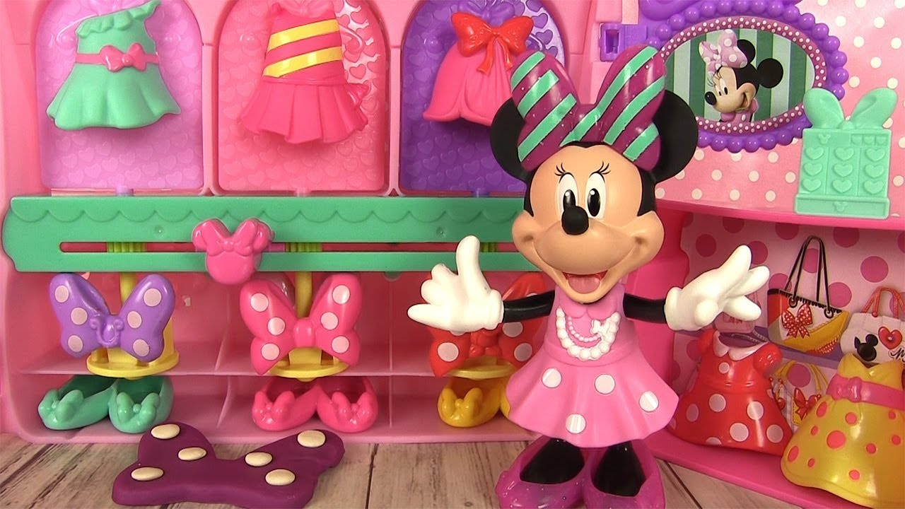 Minnie mouse la boutique de minnie jouet rubans et robes youtube - Coloriage minnie robe ...