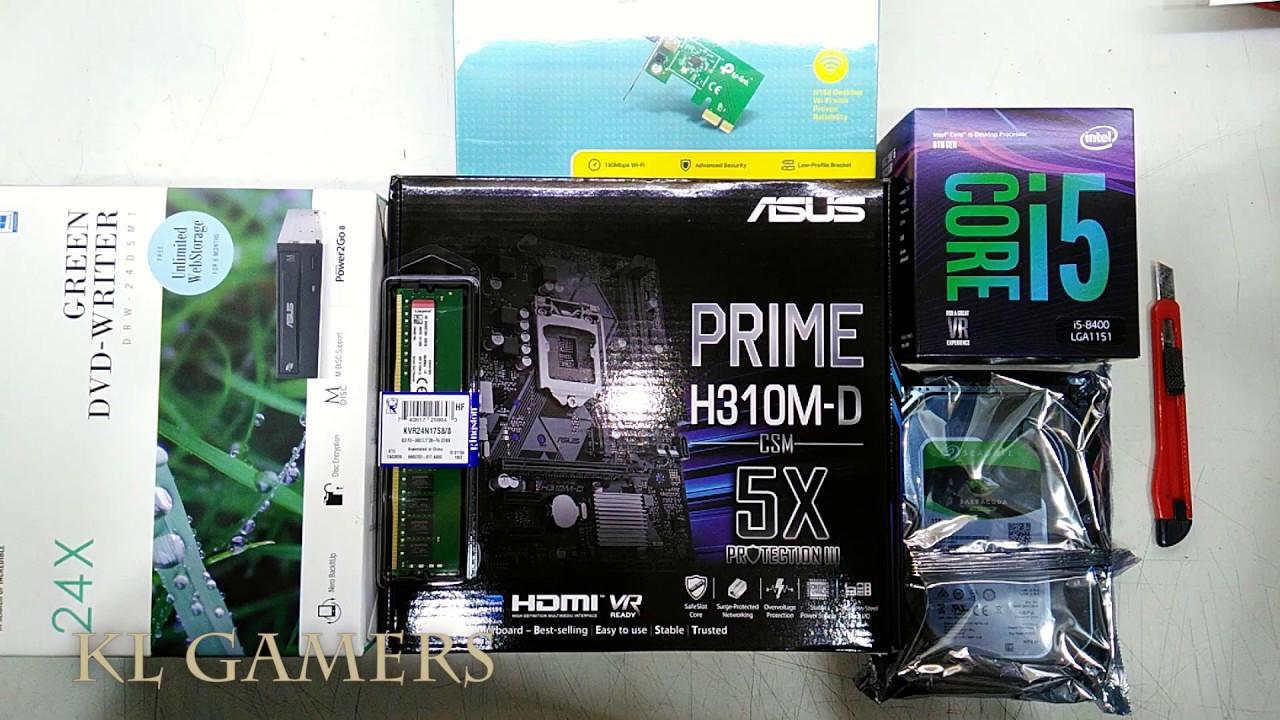 intel Core i5 8400 ASUS PRIME H310M-D CSM 8GB RAM 1TB HDD DVD Home PC build 2019 - YouTube
