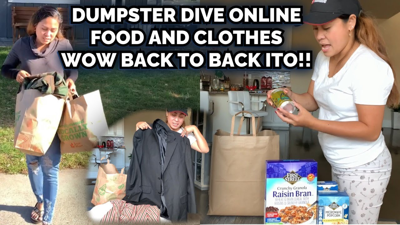 DUMPSTER DIVING ONLINE,LOOK JACKPOT FINDS FOODS AND CLOTHES WOW!! | Shang in California