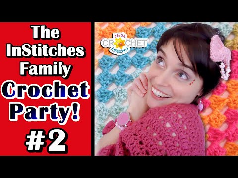 Working On The Granny Shell Blanket – The InStitches Family Crochet Party – Ep. 2