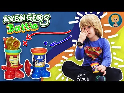 Gertit Plays with New Play Doh Toyset - Funny Battle between Avengers