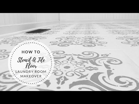 DIY Laundry Room Makeover|How To Stencil A Tile Floor