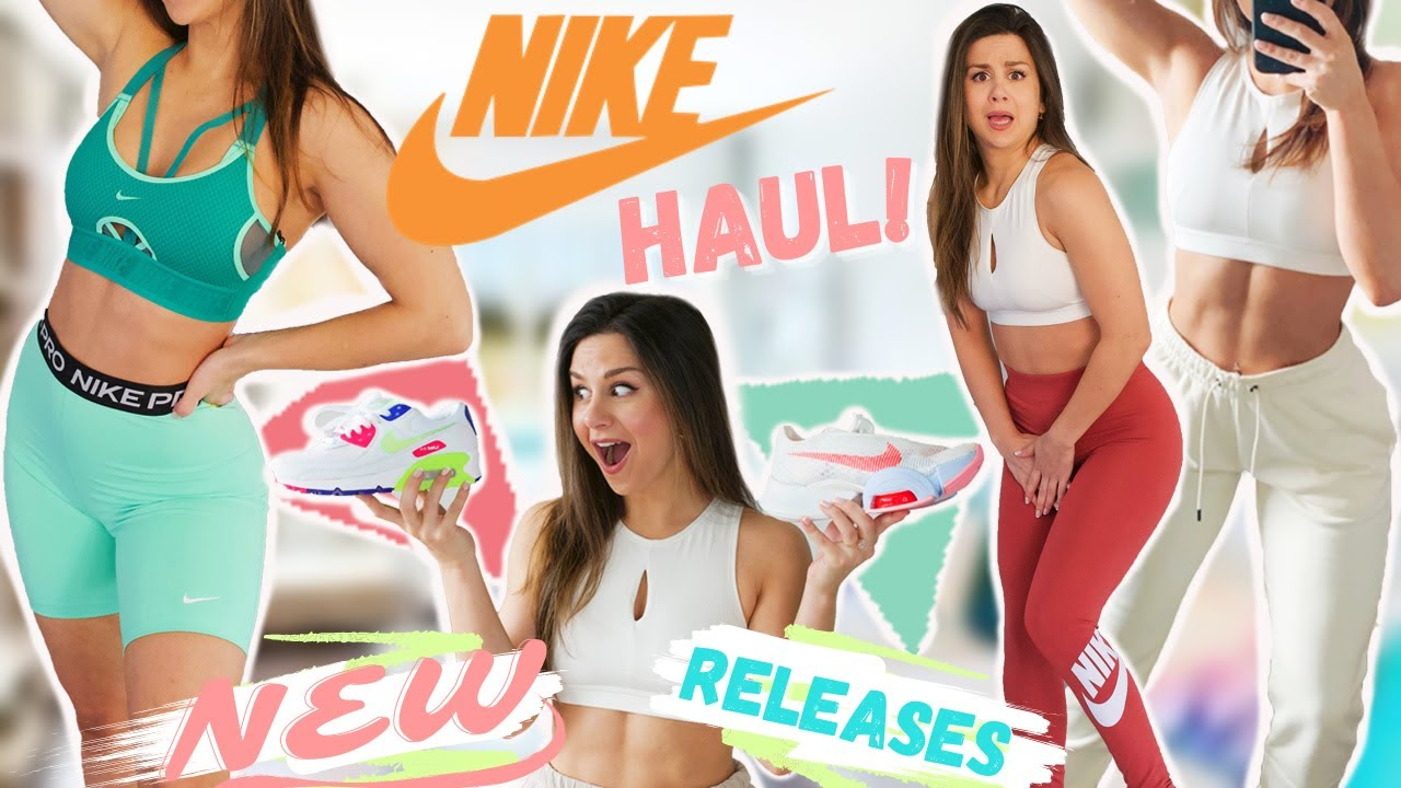 $500+ Nike NEW release haul, try on & review! | new Nike Air Max, Nike activewear!