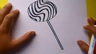 Como dibujar un chupachups paso a paso   How to draw a lollipop