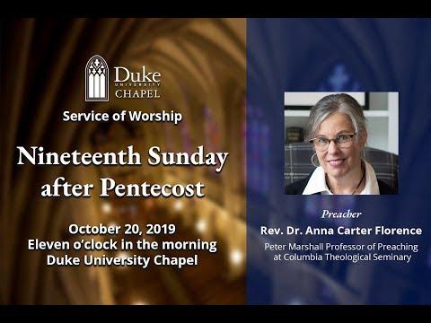 Sunday Morning Worship Service - 10/20/19 - Rev. Dr. Anna Carter Florence