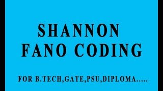 SHANNON FANO CODING(SOURCE CODING)  IN HINDI.