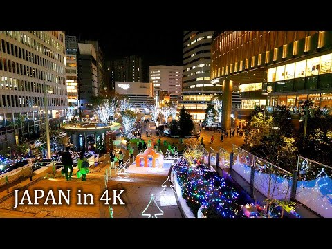 【4K】Night walk looking for Christmas Lights at Tokyo station, Ginza, Yurakucho and Hibiya