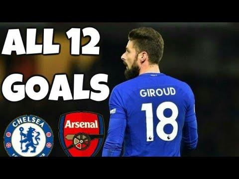 Olivier Giroud All 12 Goals in 2017/18 Season ( arsenal & chelsea )