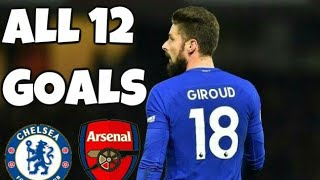Olivier Giroud All 12 Goals in 2017/18 Season ( arsenal & chelsea )