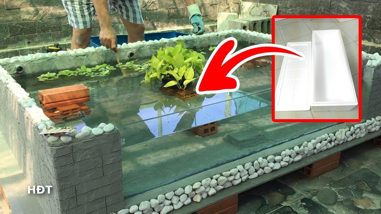 Make fish tank with 2 Styrofoam box ! Oscar fish😍 Làm hồ cá ghép 2 Thùng xốp !Tai tượng châu phi
